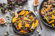 Pumpkin panzanella, bread salad of pumpkins, onions, tomatoes, grapes and figs - SARF03564