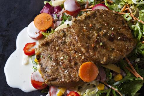 Veggie burger with lettuce, vegetables and yoghurt sauce - CSF28901