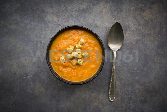 Bowl of sweet potato carrot soup - LVF06694