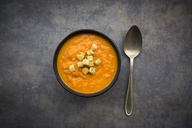 Bowl of sweet potato carrot soup - LVF06694