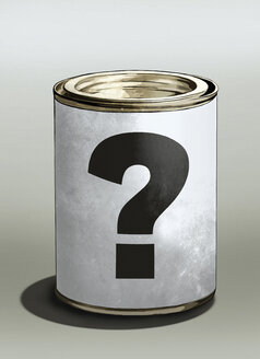 Question mark on tin can - FSIF00772
