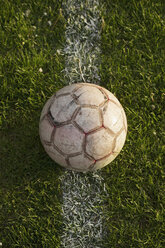 Close-up of soccer ball on white line in stadium - FSIF00916