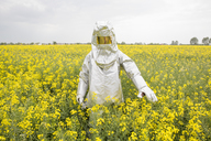 A person in a radiation protective suit standing in an oilseed rape field - FSIF00934