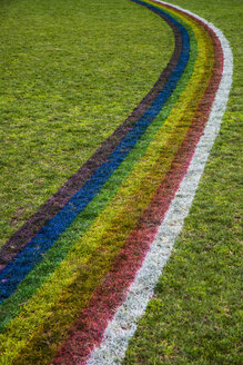 High angle view of rainbow pattern on grassy field - FSIF00976