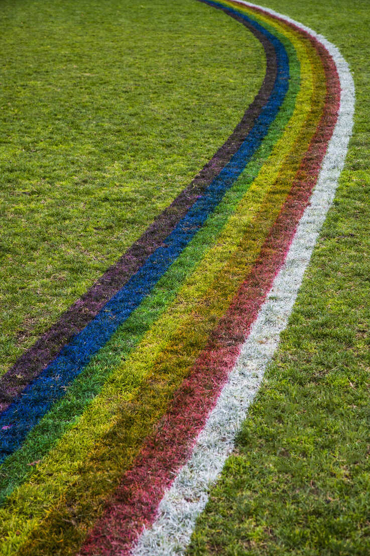 High angle view of rainbow pattern on grassy field - FSIF00976 - fStop/Westend61