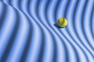 Yellow sphere over a geometric blue background, 3D Rendering - DRBF00043