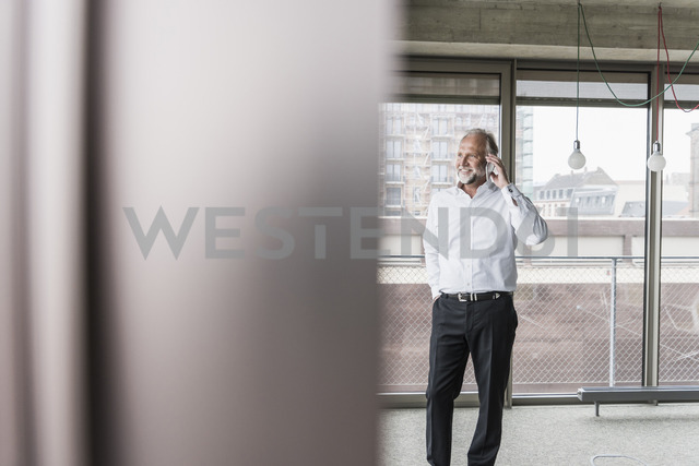 Smiling mature businessman standing at the window talking on cell phone - UUF12749