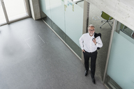 Elevated view of smiling mature businessman standing in office - UUF12761