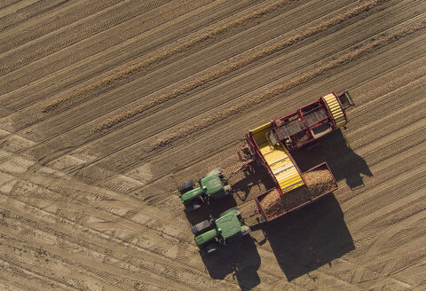 Directly above view of combine harvester in field - FSIF01323