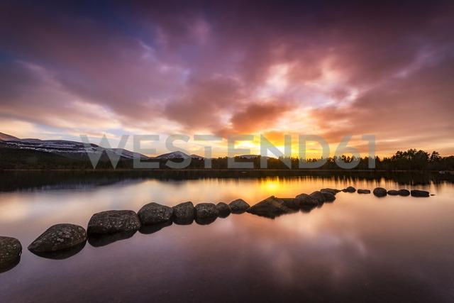 United Kingdom, Scotland, Highlands, Cairngorms National Park, Loch Morlich, sunset - SMAF00942