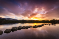 United Kingdom, Scotland, Highlands, Cairngorms National Park, Loch Morlich, sunset - SMAF00942