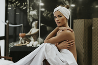 Portrait of nude young woman in a spa - OCAF00135