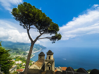 Italy, Campania, Amalfi coast, Ravello, View of coast and sea with pine and church Chiesa dell'Annunziata - AMF05659