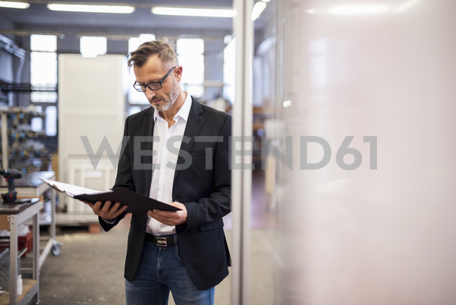 Mature businessman in factory looking at folder - DIGF03331