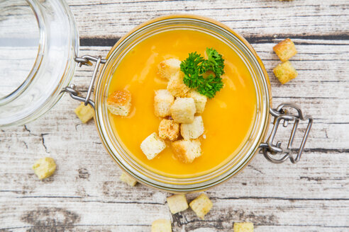 Pumpkin soup with croutons, garnished with parsley in jar - LVF06704