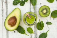Green smoothie, detox, with avocado, baby spinach and kiwi - LVF06707