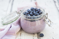 Overnight oats  with blueberries in jar - LVF06716