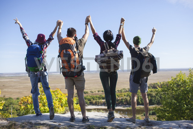 Rear view of young friends with arms raised standing on rock in forest - FSIF01497