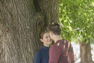 Romantic couple standing against tree at park - FSIF01656