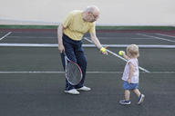 Girl giving tennis ball to grandfather while standing at playing field - FSIF01830