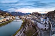 Austria, Salzburg State, Salzburg, Old town, river Salzach and Hohensalzburg Castle - YRF00205