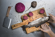 Cropped image of hand holding fish with beets at table - FSIF02178