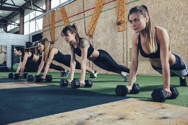 Determined female athletes doing push-ups on dumbbells at health club - FSIF02310