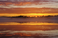 Germany, Bavaria, Upper Bavaria, Reutberg Abbey and lake Kirchsee in the morning - SIEF07728