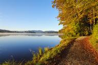 Germany, Bavaria, Upper Bavaria, Sachsenkam, Toelzer Land, Lake Kirchsee in the morning, autumn - SIEF07731
