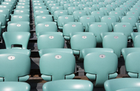 Croatia, Dalmatia, Sibenik, Row of seats of open air theater - WWF04165