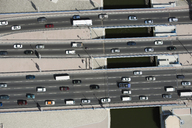 Aerial view of vehicles driving along a motorway - FSIF02581