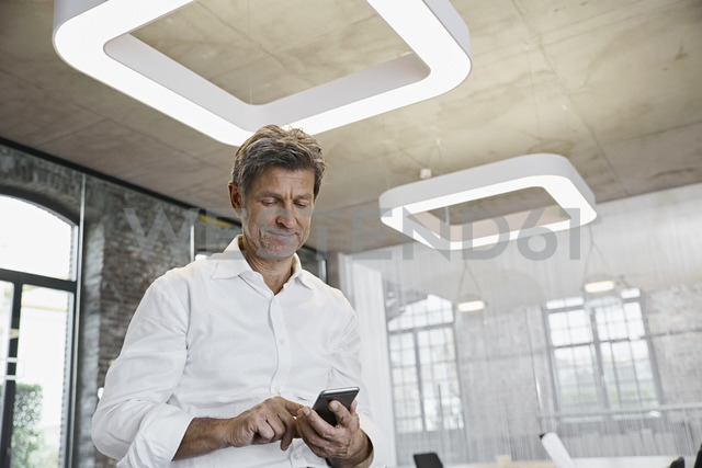 Mature businessman using smartphone in modern office - PDF01514