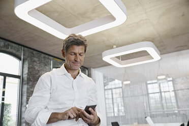 Mature businessman using smartphone in modern office - PDF01514