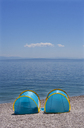 Croatia, Istria, Adria, Kvarner Gulf, Moscenicka Draga, beach with tents, sun protection - WWF04193