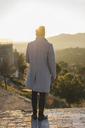 back view of fashionable young man wearing grey coat at sunset - AFVF00173
