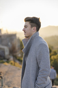 Fashionable young man wearing grey coat - AFVF00176