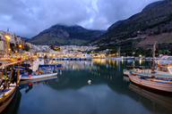 Italy, Sicily, Trapani, Castellammare del Golfo, Harbour in the evening - LBF01776
