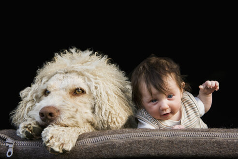 A dog and baby lying on their stomachs side by side - FSIF02918