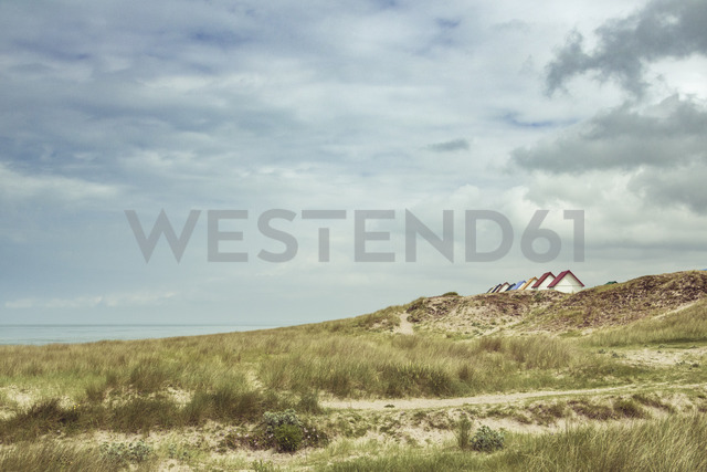 France, Upper Normandy, dunes and bathhouses near Gouville - DWIF00899