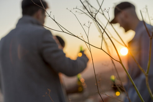 Defocused view of friends with beer bottles outdoors at sunset - AFVF00220