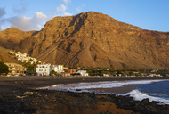 Spain, Canary Islands, La Gomera, Valle Gran Rey, La Playa and La Calera in the evening - SIEF07737