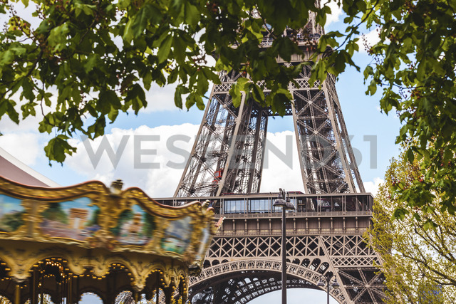 France, Ile-de-France, Paris, Eiffel tower and carousel - WPEF00128