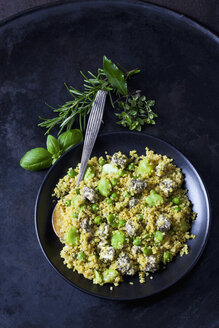 Bowl of quinoa salad with broad beans, peas and feta - CSF28974