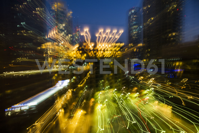 United Arab Emirates, Dubai, blurred cityscape at night - ZEF15012