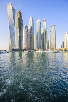 United Arab Emirates, Dubai, Dubai Marina with Cayan Tower left - ZEF15018