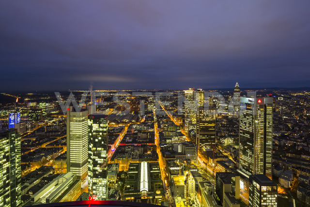 Germany, Frankfurt, View from Maintower to financial district, blue hour - FOF09840