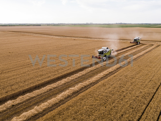Serbia, Vojvodina. Combine harvester on a field of wheat, aerial view - NOF00009