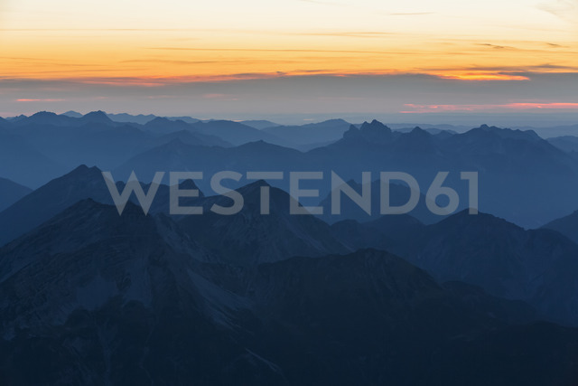 Austria, Germany, Bavaria, Zugspitze, summits at sunset - FOF09851