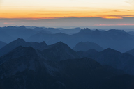 Austria, Germany, Bavaria, Zugspitze, summits at sunset - FOF09851