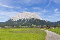Austria, Tyrol, Lermoos, Ehrwalder Becken, View to Ehrwald and Zugspitze - FOF09854